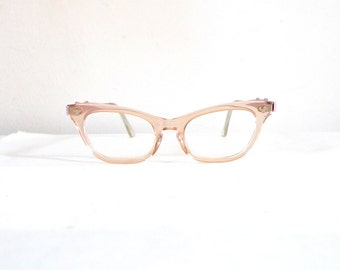 Vintage Pink Tint Cat Eye Glasses / NOS Frames, Rockabilly Clear and Aluminum SunGlasses on SALE