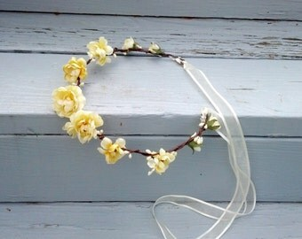 Country Bride Headwreath Butter yellow silk roses Barn Wedding Flower crown bridal headpiece Hair flowergirl halo hair wreath accessories