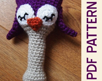 Amigurumi Crochet Sleepy Owl Woodland Baby Rattle Pdf Pattern