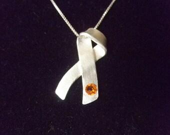Orange Awareness Ribbon Necklace, MS Awareness Necklace, Leukemia Necklace, Multiple Sclerosis jewelry, Leukemia jewelry, Warrior Necklace