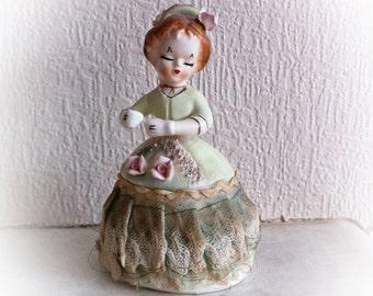 Vintage Spaghetti Trim Lady Figurine Mint Green Dress