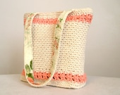 CLEARANCE 50% off, Cream and peachy pink floral edged tote, crocheted lined