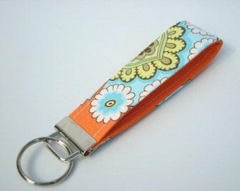 Wristlet Key Fob / Key Chain -French Wallpaper Amy Butler