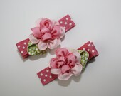 SALE - Girls/Baby Pink Ribbon Flower Hair Clips - Set of 2
