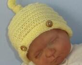 Knitting pattern digital pdf download- Baby Roll Brim Stripey Topknot Beanie pdf download knitting pattern