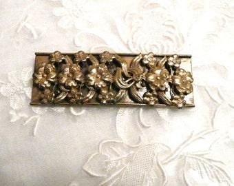 Huge Embossed Brass Victorian Coat Pin Brooch