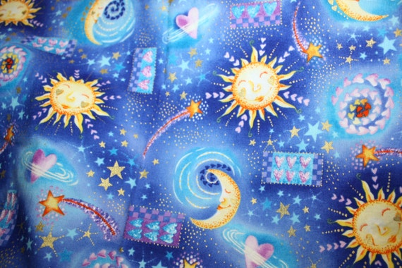 Sun moon stars hearts gold sparkle metallic abbra fabric for Sun moon and stars fabric