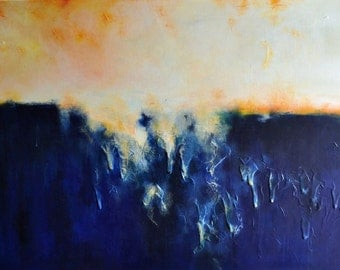 Blue Rain 5 Original Abstract Painting, Heavy Textured, 24x35 inch UNSTRETCHED Rolled in a tube