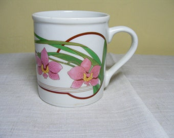 Vintage Mug PINK ORCHID Design Early 80s Graphic