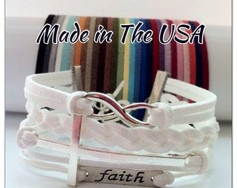 Infinity, Sideways Cross, Faith Bracelet, Charm Bracelet, Friendship Bracelet, Christian jewelry, Religious bracelet, Faith jewelry