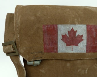 O Canada - Vintage Military Canvas Messenger Bag Satchel - Hand Painted