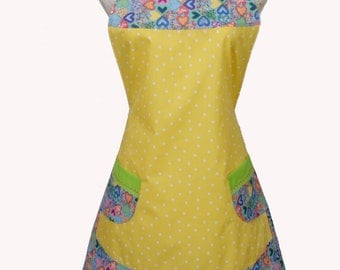 Yellow plus size Apron, Multi colored Hearts Yellow Polka dots and Lime Green