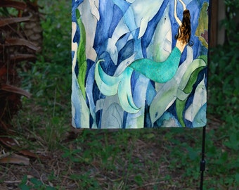 Mermaid and Dolphins Party Garden Flag from art. Available in 2 sizes