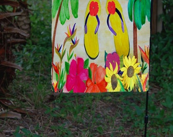 Flowers and Flip Flops Garden Flag from art. Available in 2 sizes