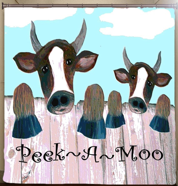 Cow Peek-A-Moo ..funny Art Shower Curtain by maremade on Etsy
