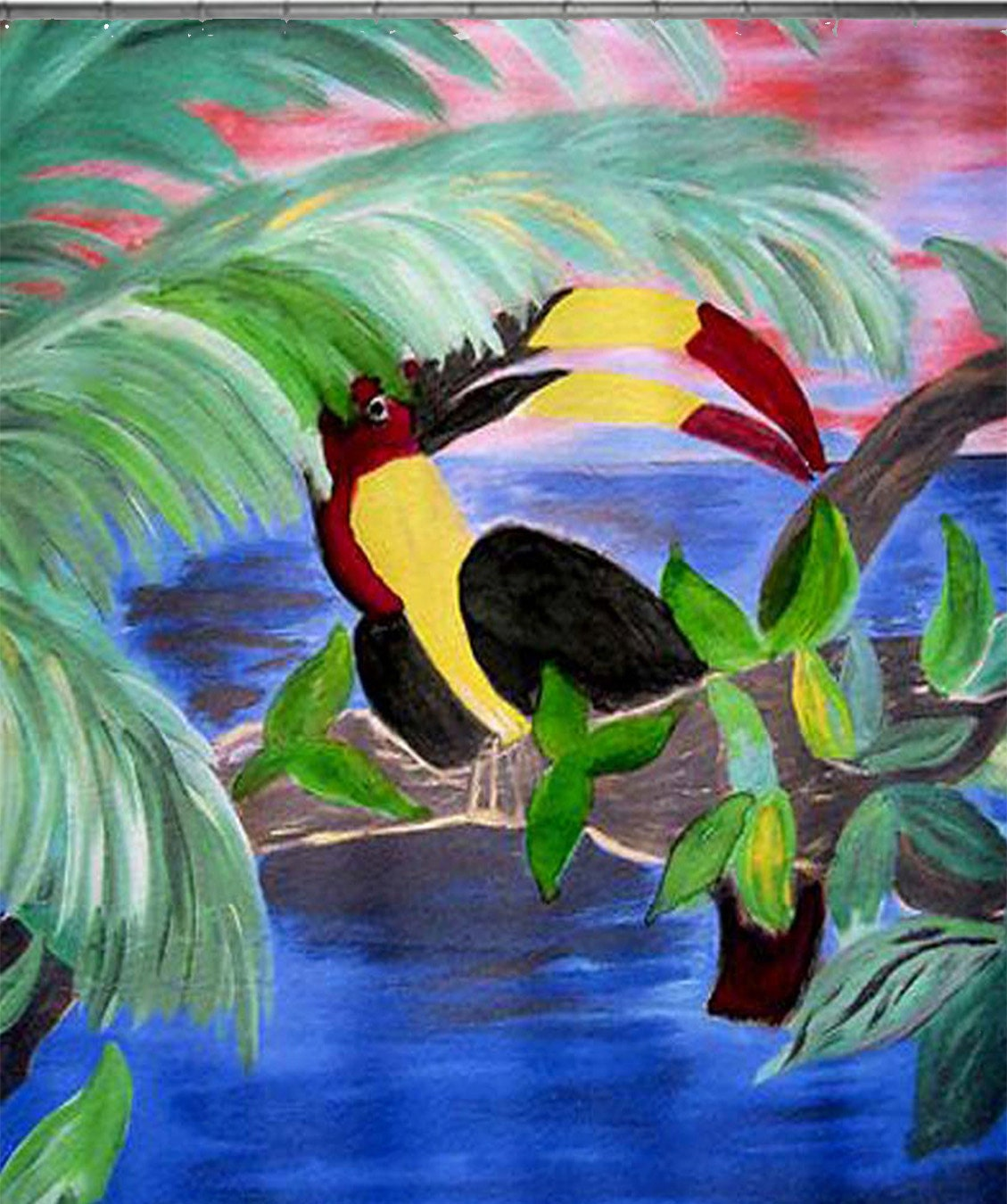 Toucan in the Rainforest... Tropical Bird Art Shower by maremade