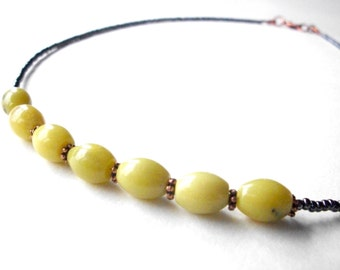 Simple boho necklace, green olive jade and gray beaded copper gemstone layering necklace