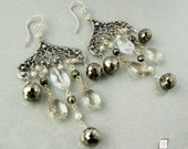 RESERVED Sterling silver and gold large chandelier earrings, Pyrite and Quartz gemstones