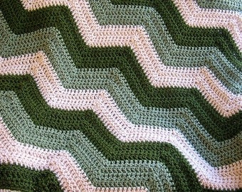 new chevron zig zag baby blanket afghan wrap crochet knit lap robe wheelchair ripple stripes VANNA WHITE yarn green beige olive handmade USA