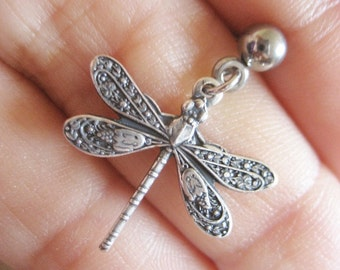 Dragonfly Tragus Cartilage Helix Piercing Earring Ear Jewelry Stud Post Bar Barbell 16g 16 G Gauge Dragon Fly Charm Dangle