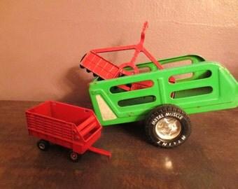 Farm Trucks-Metal Truck Trailer  set- Vintage