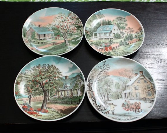 Vintage Set Of 4 Currier And Ives Seasons Decorative Wall