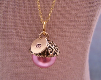 ONE Personalized Pearl Acorn Necklace in Petal Pink. Bridesmaid. Friendship. Love. Peter Pan. Wendy. Kiss