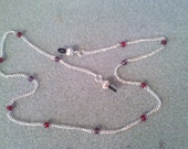Eye Glass Jewelry chain Red beads on Silver tone chain 22 1/2 inch long Stylish but functional, Made in Michigan USA