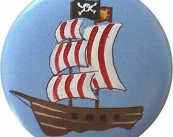Set of 8 - 2 inch knobs - PIRATE SHIPS - Drawer Knobs - Hand Painted