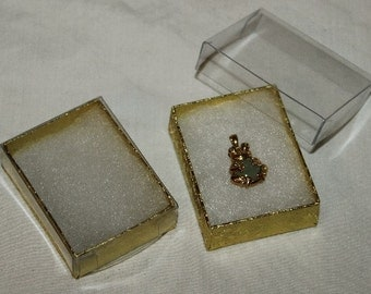 Clear Top Gold Cotton Filled Gift Boxes 100 Qty