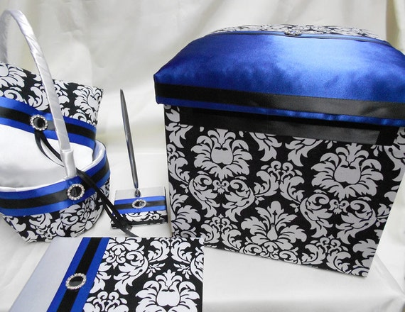 Damask Flower Girl Basket And Ring Pillow : Damask royal blue flower girl basket ring pillow guest book