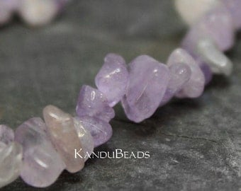 "Light Amethyst, Lavender, Small Chip Beads  5-10mm  LONG 34"" strand"