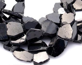 Black TOURMALINE nugget slice slab focal beads 22mm RARE Choose Quantity