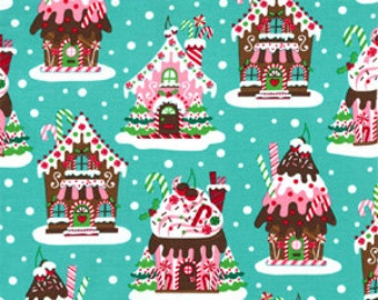 Christmas Michael Miller Fabric Gingerbread Houses Aqua, Choose your cut