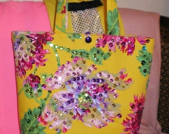 Marigold Yellow Purse Orchid Floral Sparkle Bag