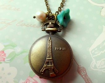 Springtime in Paris. Vintage Inspired Eiffel Tower Pocket Watch with Flower and Pearl Necklace.