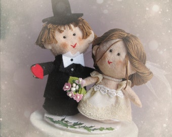 Personalized felt wedding cake topper - imagine your own custom bride and groom - customized ooak - Handmade in France