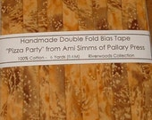 "6 Yards Handmade Double Fold Bias Tape -  Amber ""Pizza Party"" by Ami Simms - 6 Yards"