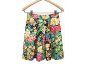 80s Cotton Skirt XS Mini Asian Floral Peacock Print, Homemade Short Skirt Multi Color XS S 24 in. waist
