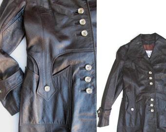 70s MOD Brown Leather Coat M, Ladies vintage Trench Coat, Di Costa Ladies Med Amazing Detail Medium