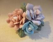 Vintage Bisque Porcelain Roses Brooch