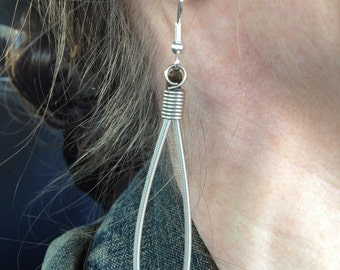 Recycled Guitar Strings - Restored Guitar String Silver Drop Earrings