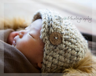 Baby Newsboy Beanie, Newborn Photo Prop, Baby Hat, Baby Crochet Hat