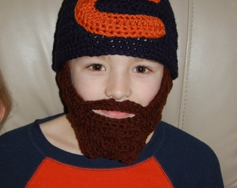 Made Upon Ordering Chicago Bears Inspired Beard Beanie Fits Ages 8 to 11 Can Customize Size and Colors