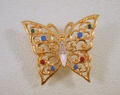 Vintage Butterfly Brooch Filigree Rhinestone