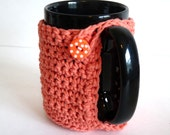 Crochet Mug Cozy in Peach, Tangerine for Coffee Lovers and Tea Drinkers