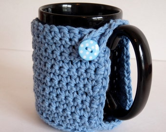 Crochet Mug Cozy in Blue, for Coffee Lovers and Tea Drinkers