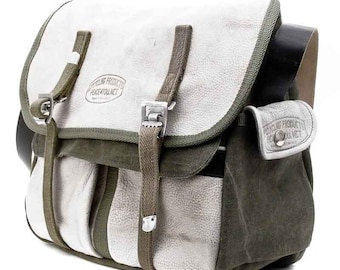 Welder's Coat White Leather Messenger Bag // Handmade & Upcycled by peace4you, GERMANY // Model anton-2085