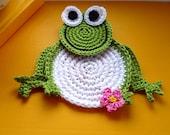 Crochet Frog Pattern - Frog Coaster Pattern - Frog Crochet Coaster - Crochet Frog Coaster - Frog Drink Coaster Pattern - Birthday Gift DIY