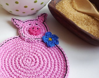 Crochet Pig Coasters - Animal Coasters - Country Kitchen Decor - Cottage Chic Decor - Set of 2 - Coffee Coasters - Wedding Gift